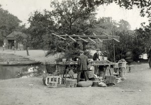 Fruit stall by Hollow Pond, Leytonstone, c1930