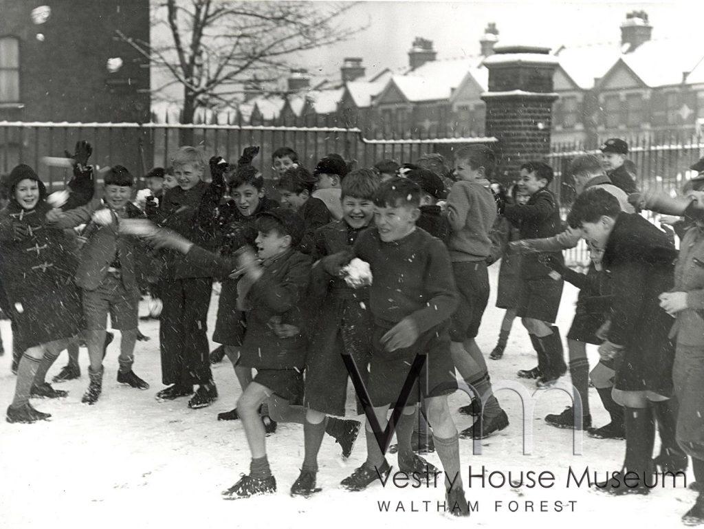 A snowfight amongst pupils at Maynard school, 1958