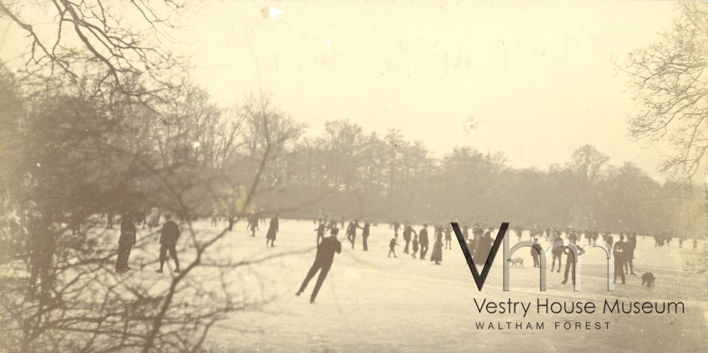 Skating on Highams Park, c1910