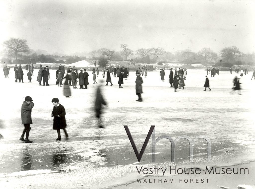 Skating on the ice at Hollow Pond in February 1912