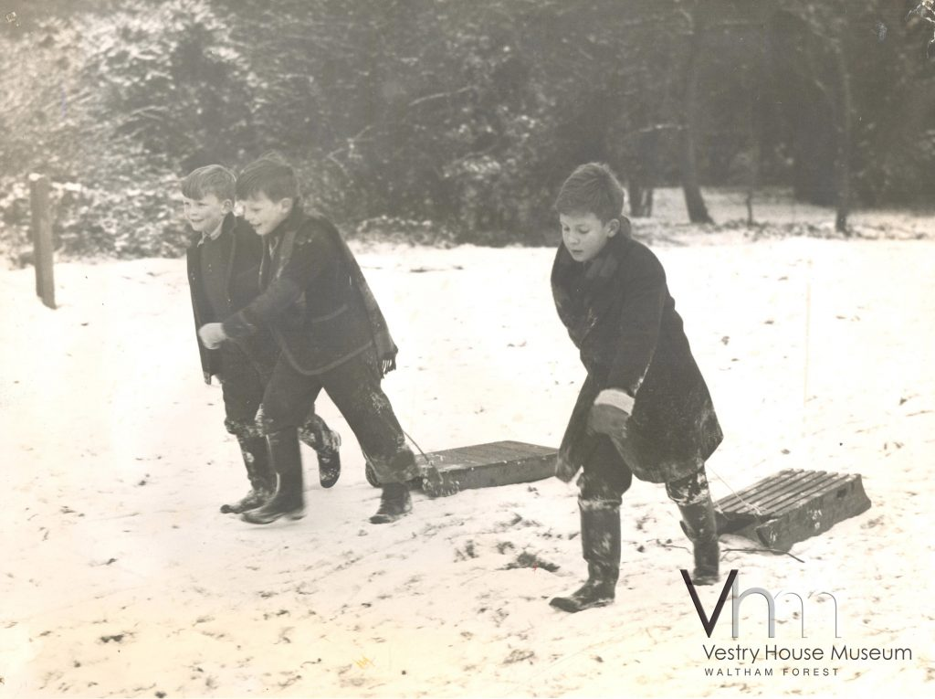 Sledging in Epping Forest, 1957