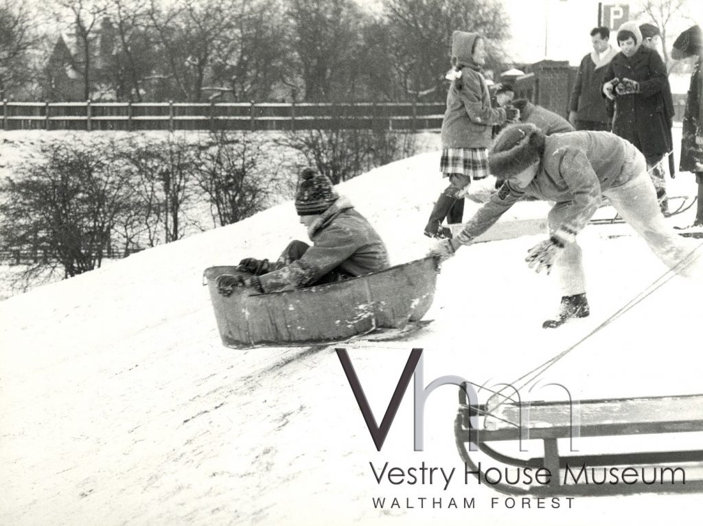Tobogganing at Whipps Cross in winter 1962