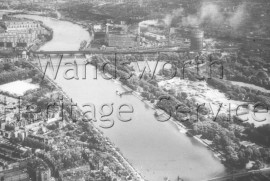 River Thames: with Battersea, Albert, Chelsea and Grosvenor Bridges- 1960