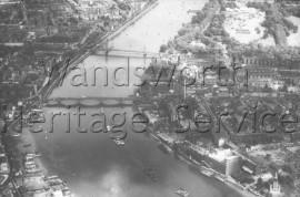 Thames, showing Albert, Chelsea and Grosvenor Bridges- 1960