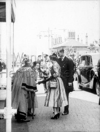 Mayoress of Wandsworth shaking hands with the Queen- 1953