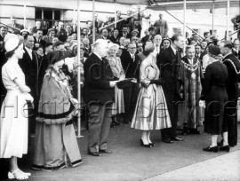 Mayors and Mayoresses of South-West London boroughs being presented to the Queen- 1953