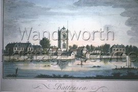Battersea: from an engraving by Thomas Priest, showing the old church and the manor house- 1742