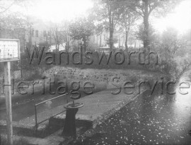 View of the River Wandle from Trewint Street bridge- 1958