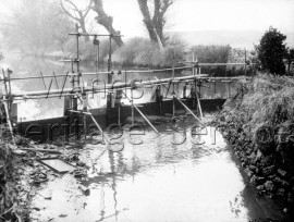 Island and temporary bridge across the River Wandle at Steerforth Street, Wandsworth- 1958