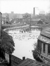 Upper Mill, River Wandle, from the aqueduct- 1958