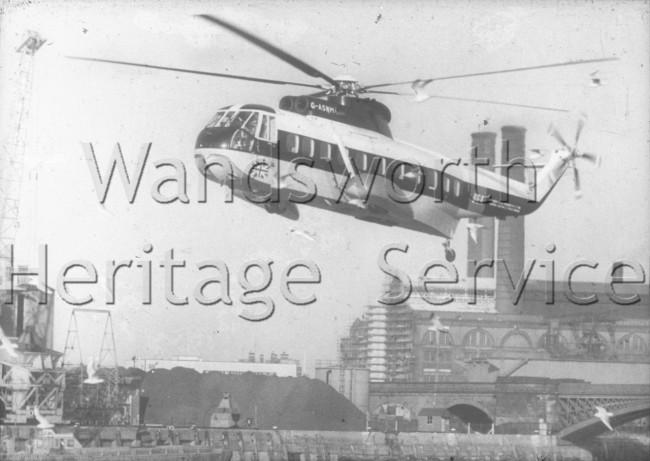 BEA Helicopter landing near Battersea Heliport- 1965