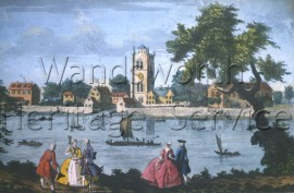 Battersea from the River, showing the old Church of St  Mary and adjacent buildings, including the Manor House: from an engraving, –  C1770