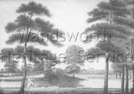Engraving of Mount Pond, Clapham Common- 1792