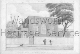 Baptist Chapel, York Road: Exterior from a water-colour by G  Yates- 1826