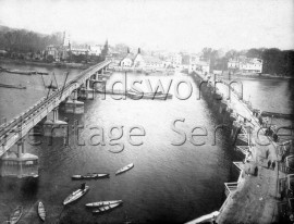 Aqueduct and view of old Putney Bridge from the tower of St Mary's, –  C1884
