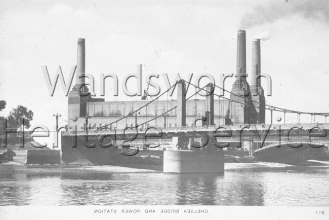 Battersea Power Station, Grosvenor Road railway bridge –  C1936.