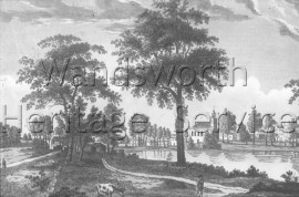 "Clapham Common: view entitled ""View of Clapham in Surrey, from the Common"", from a coloured engraving, c 1800- c1800"