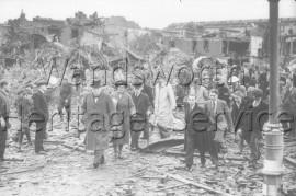 Winston Churchill visits Nine Elms after an air-raid- 1940